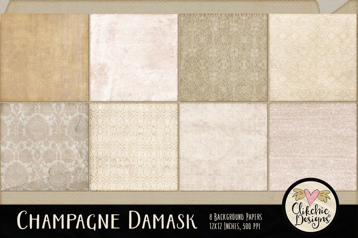 Champagne Wedding Damask Background Textures example image 2