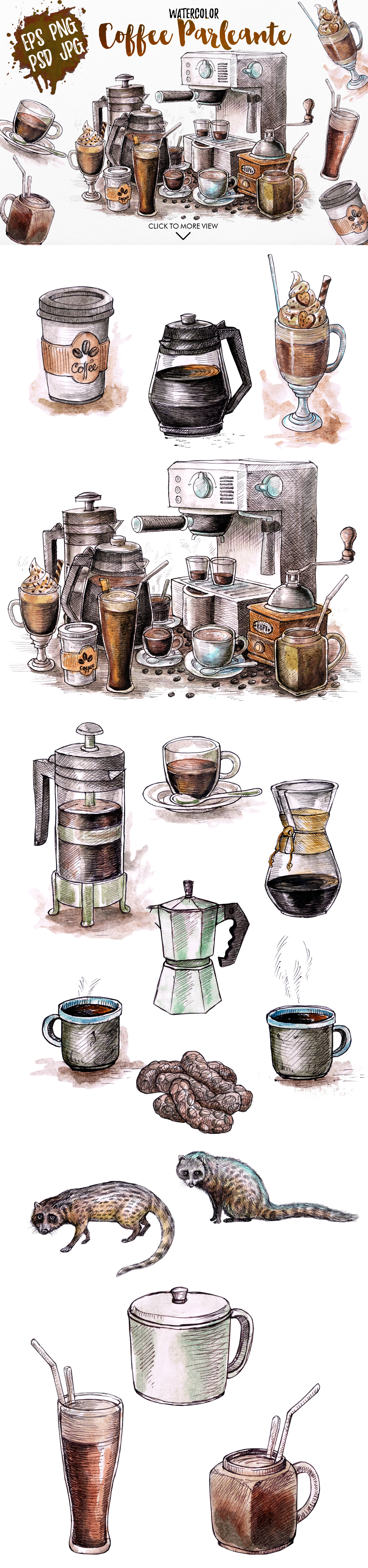 Watercolor Coffee Black Parleante example image 3