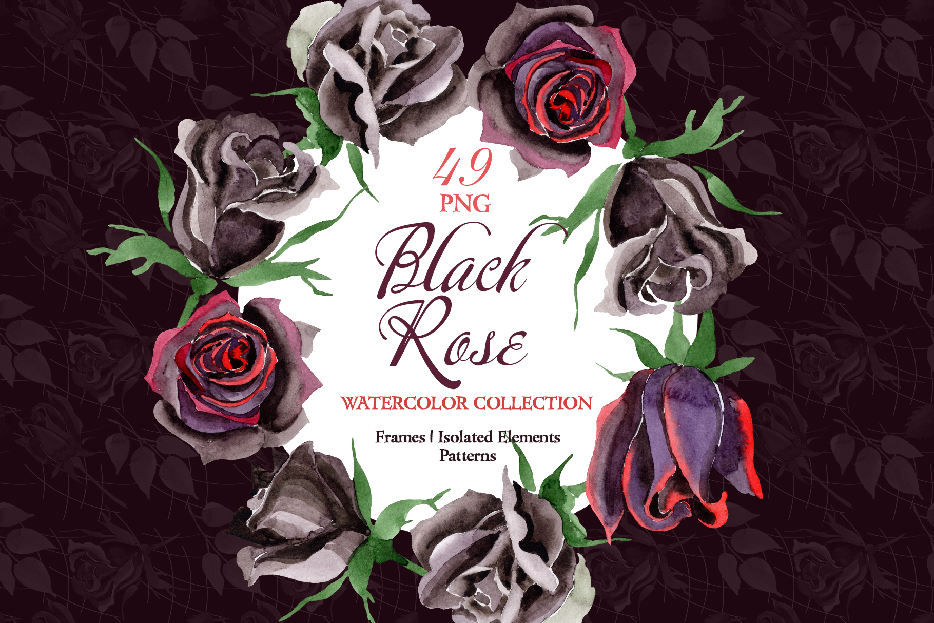 Exclusive black rose watercolor png example image 1