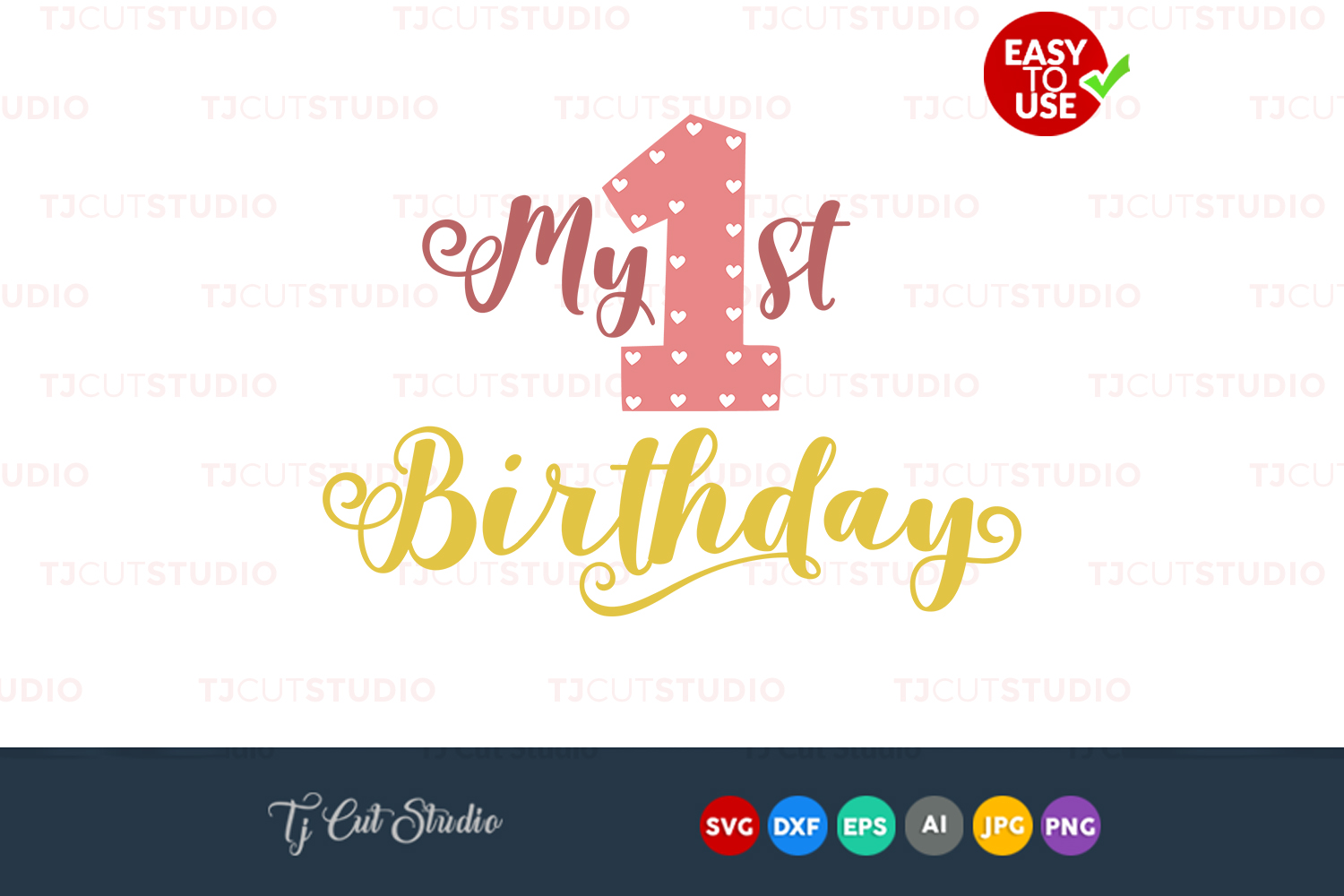 First birthday svg, birthday svg, birthday svg design Files for Silhouette Cameo or Cricut, Commercial & Personal Use. example image 1