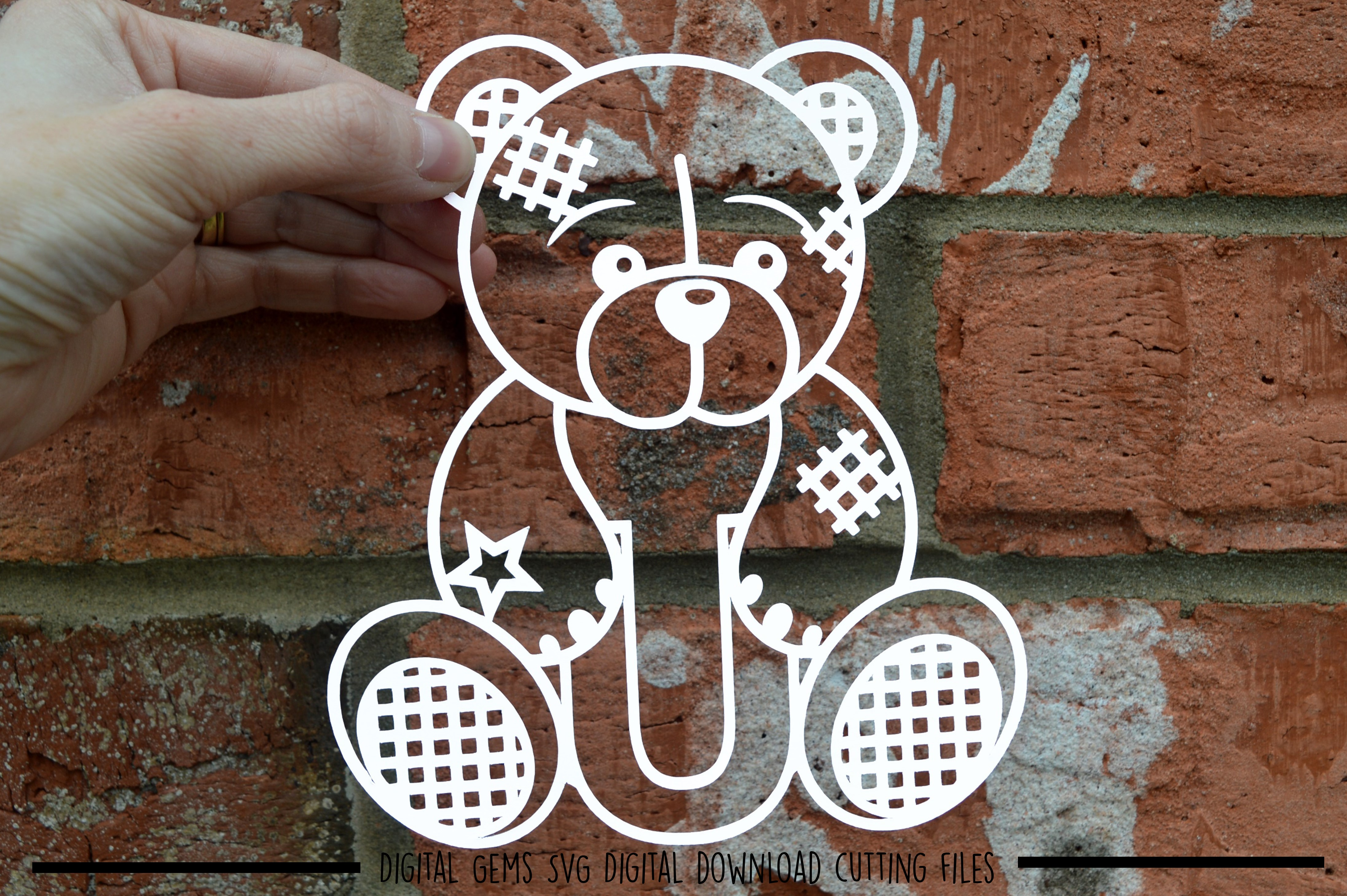 Alphabet teddy bear paper cuts SVG / DXF / EPS files example image 22