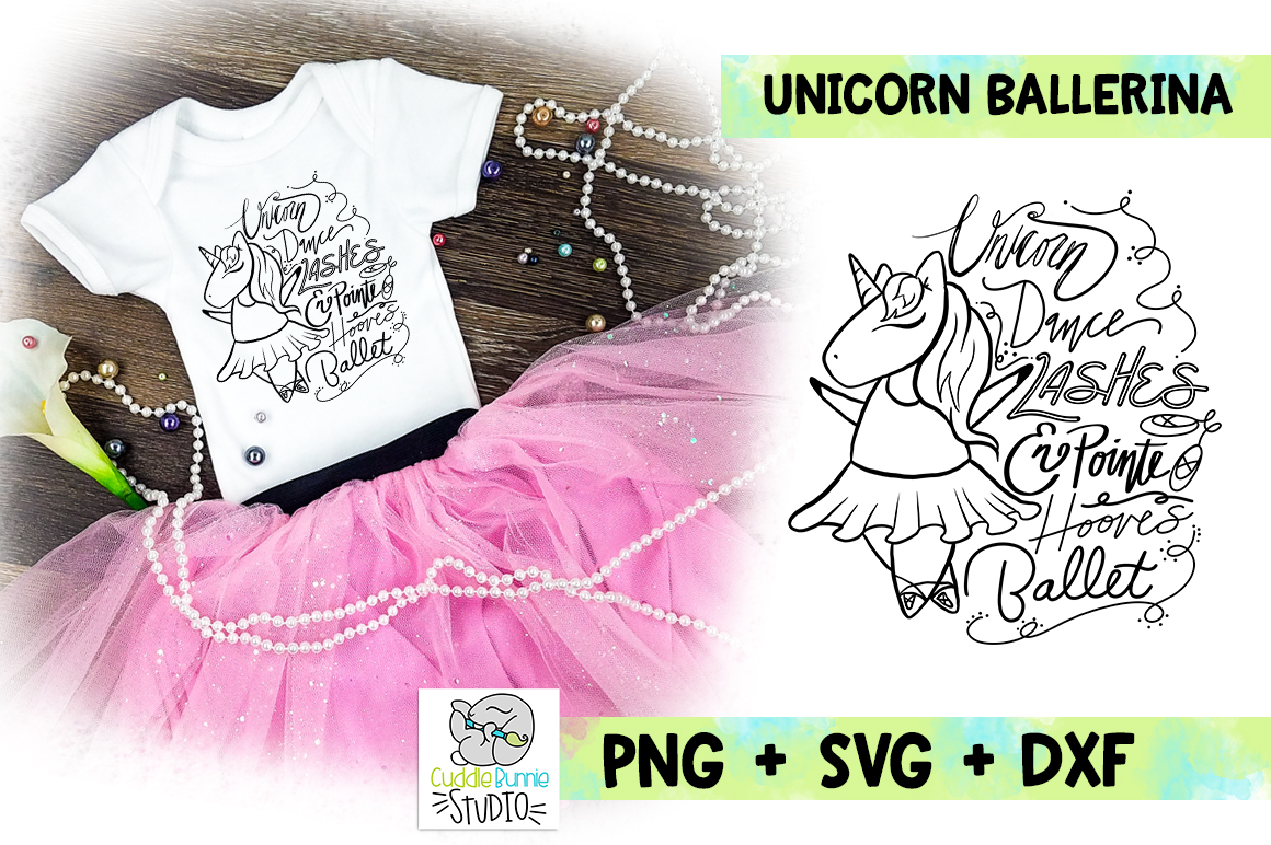 Unicorn Ballerina | Unicorn Ballet Words |SVG Cut File example image 1