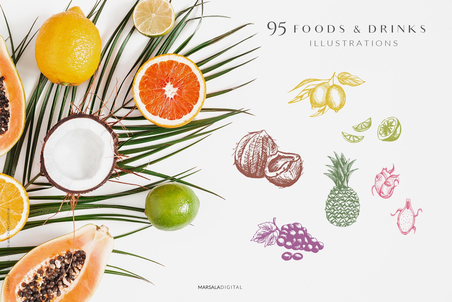 Foods & Drinks Logo Elements Handrawn Graphics example image 9