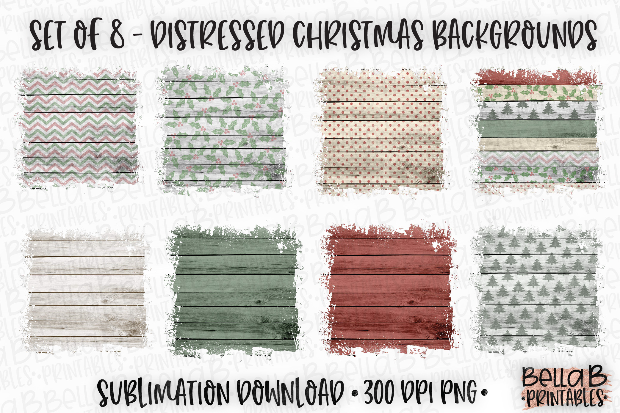 Sublimation Background Bundle, Distressed Christmas Wood example image 1