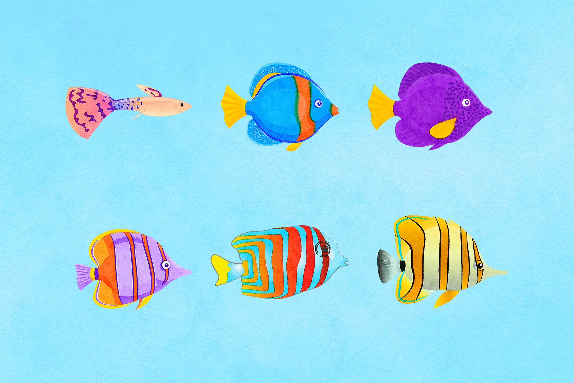 Watercolor Fish Clipart example image 3
