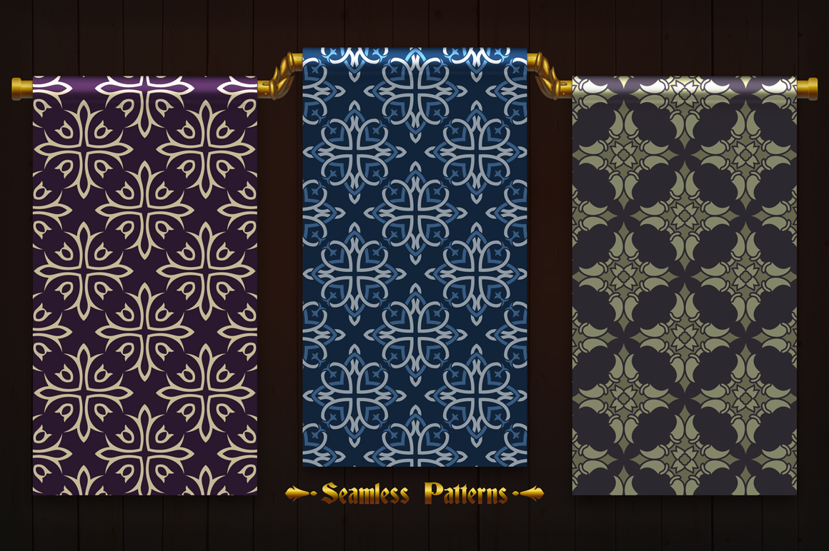 123 Vintage Seamless Vector Patterns example image 4