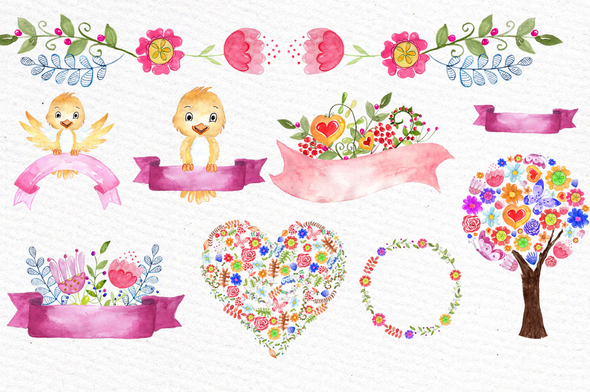 Watercolor kids floral clipart example image 2