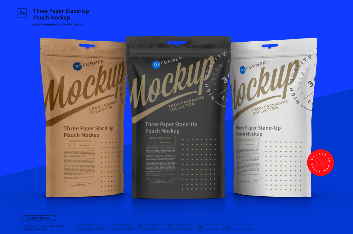 Three Paper Doy-Pack Pouch Mockup example image 2