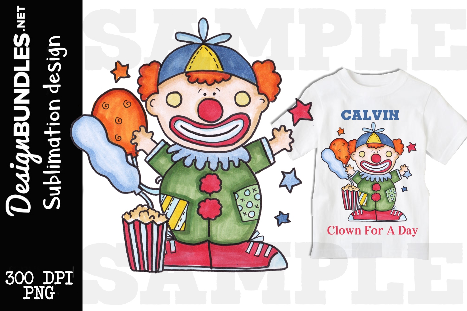 Birthday Clown Sublimation Design example image 1