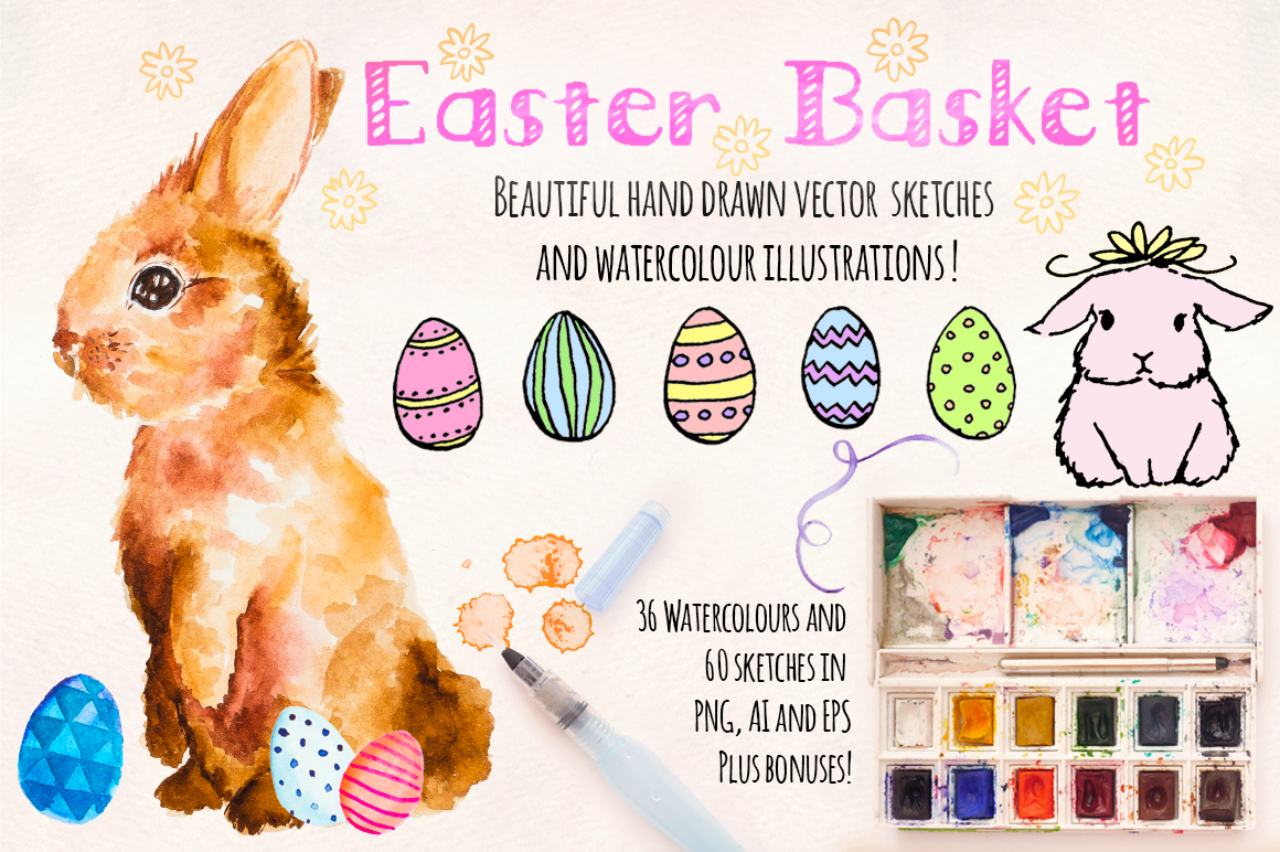 Easter Bunny Watercolor Painted Graphics Kit example image 1