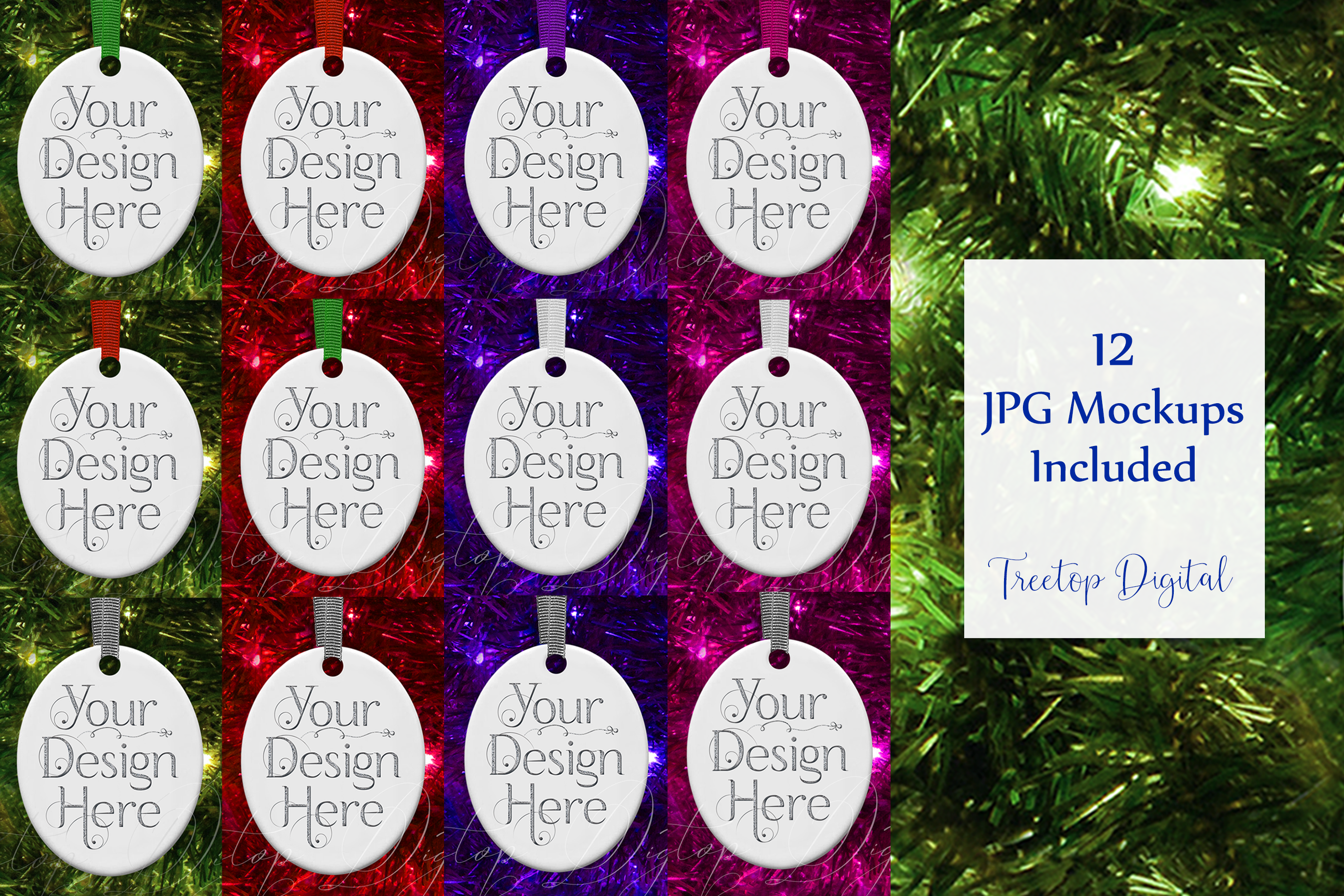 Oval Christmas Ornament Mockup, Bauble Holiday Mock- Up, JPG example image 2