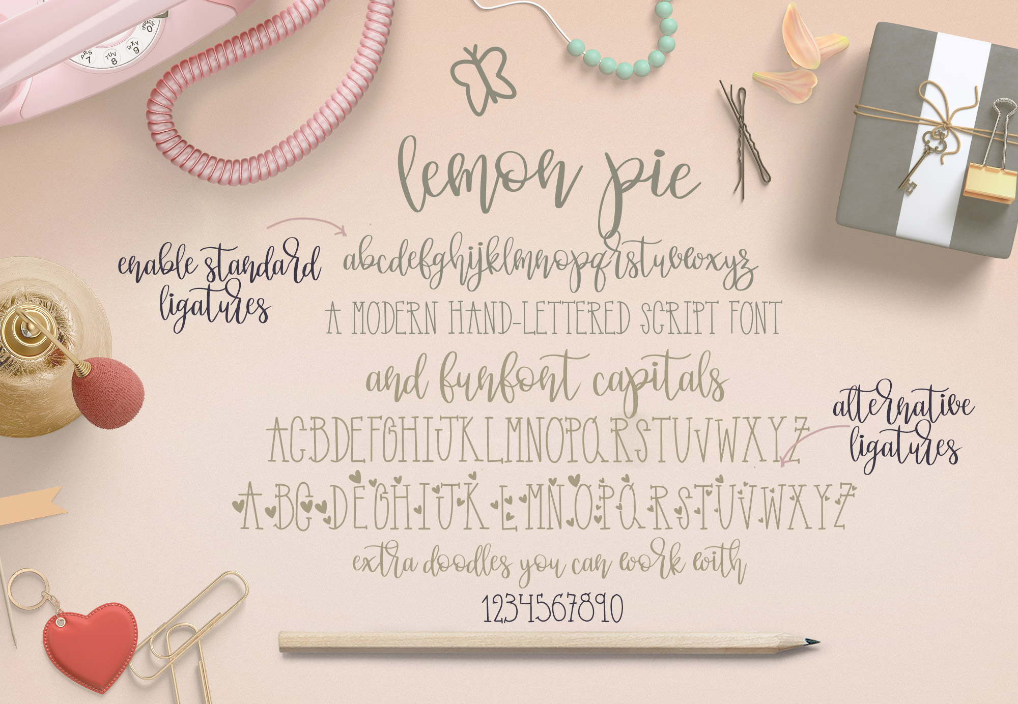 Lemon Pie Small and Funfont Capitals Font Duo Extra doodles example image 2