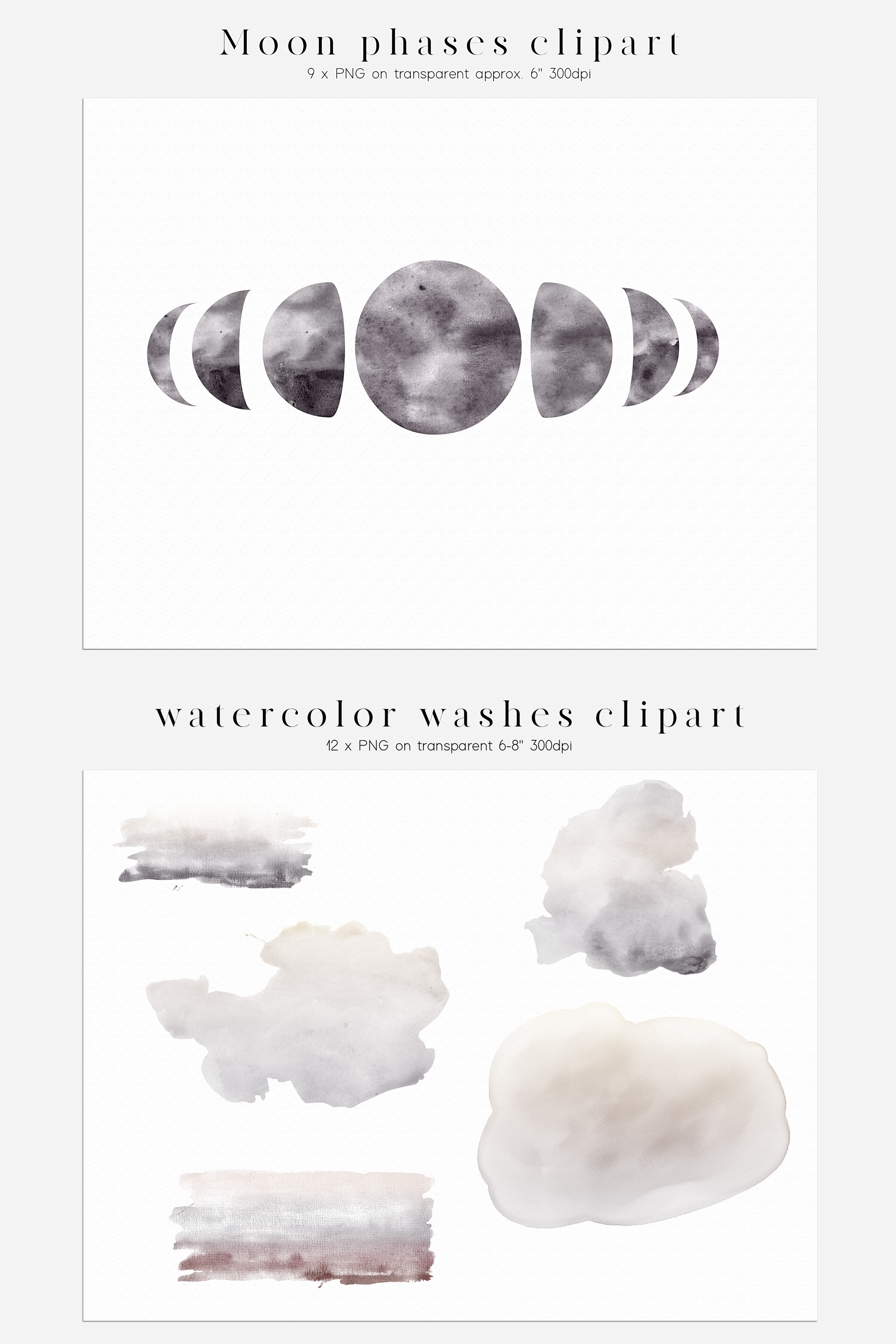 Watercolor Moon Phases Design Bundle example image 7