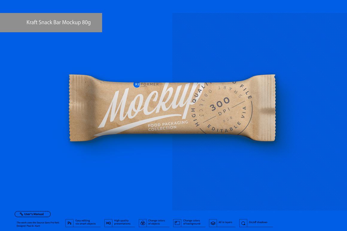 Kraft Snack Bar Mockup 80g example image 3