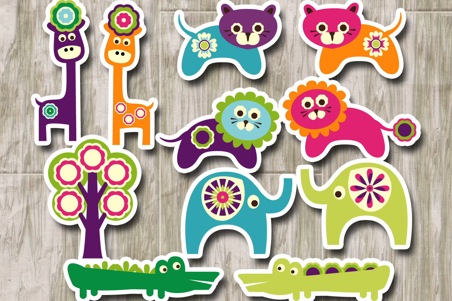 Spring zoo animals clipart graphic illustration example image 2