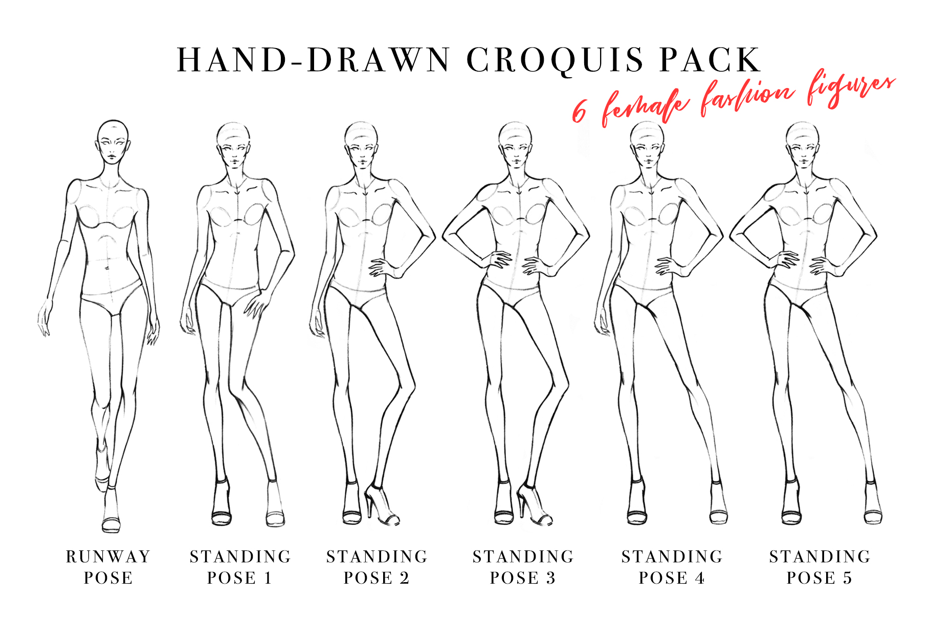 Female Figure Croquis Pack for Fashion Illustration example image 1