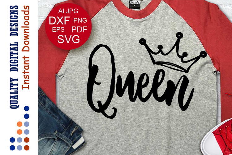 Queen svg design Valentine's day svg example image 1