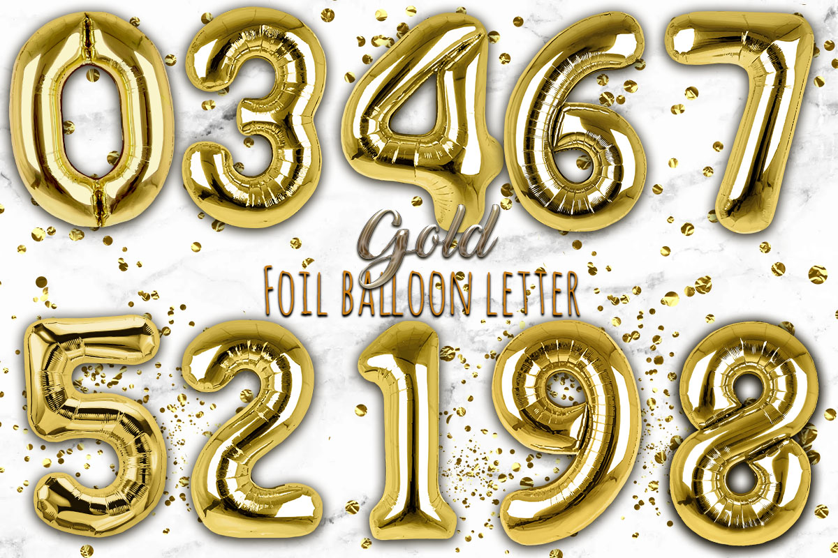 Gold Foil Balloon Numbers PNG- Hand Drawn example image 1