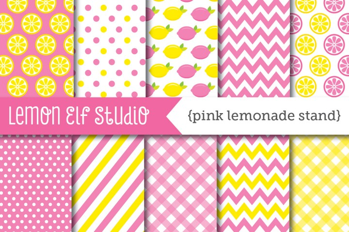 Pink Lemonade Stand-Digital Paper (LES.DP15) example image 1
