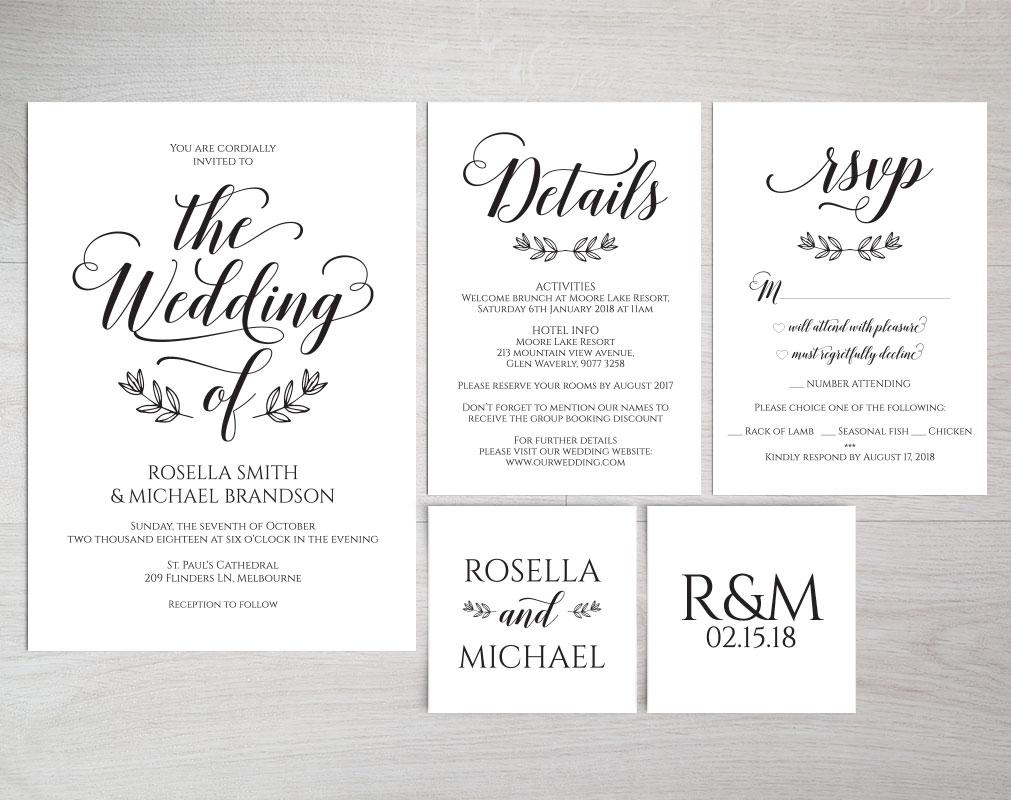 Wedding invitation set portrait, TOS_5 example image 3