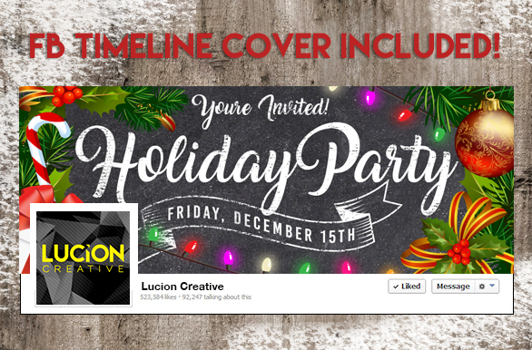 Chalk Christmas Holiday Party Flyer example image 2
