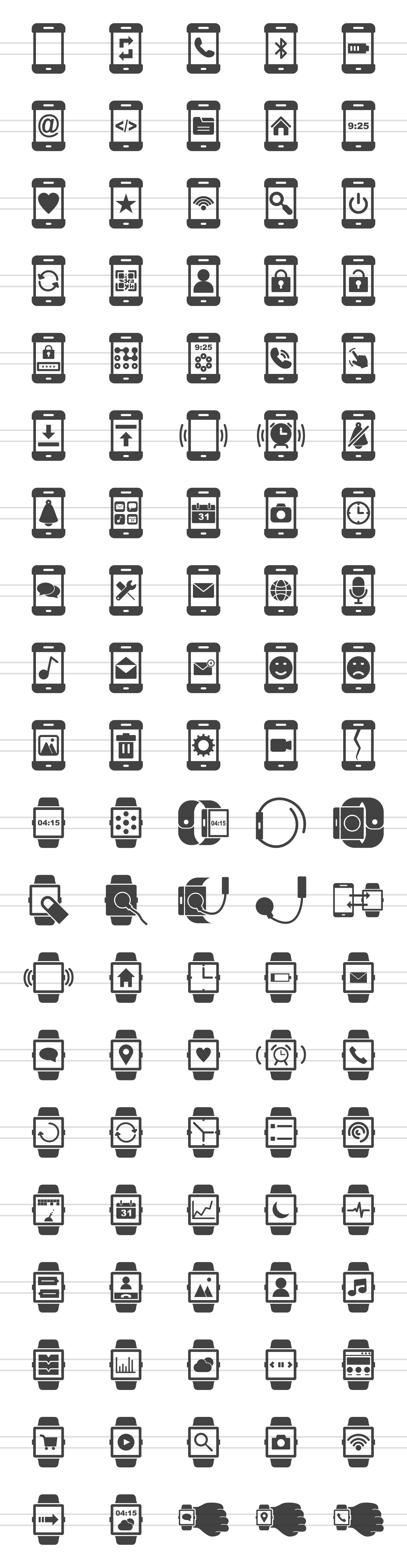 100 Smartphone & Smartwatch Glyph Icons example image 2