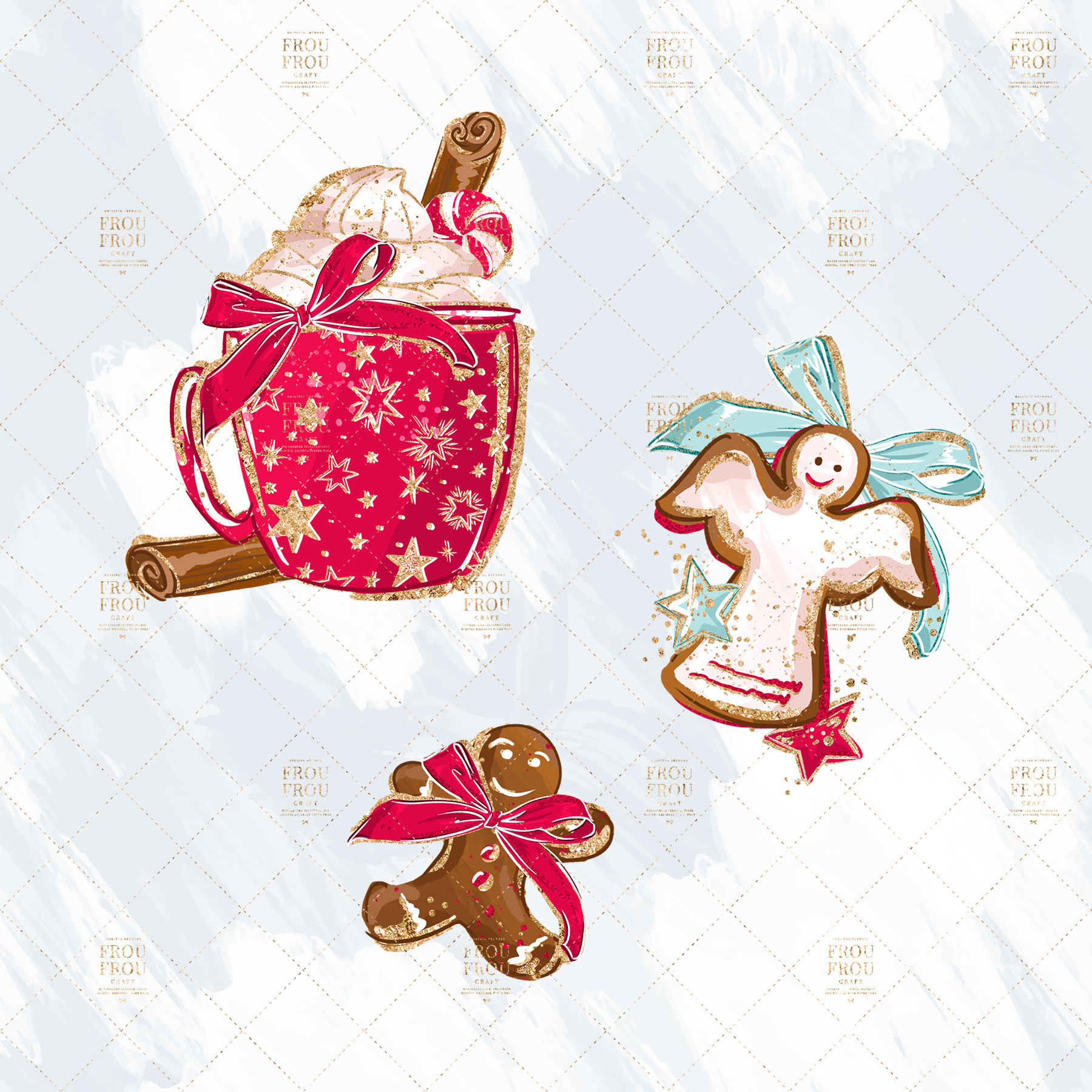 Christmas Winter Ginger Bread Sugar Cane Clip Art example image 2