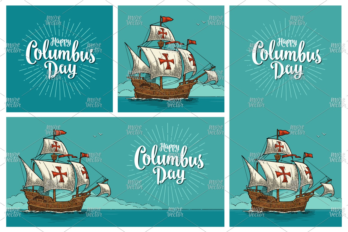 Posters Happy Columbus Day Sailing ship floating engraving example image 1