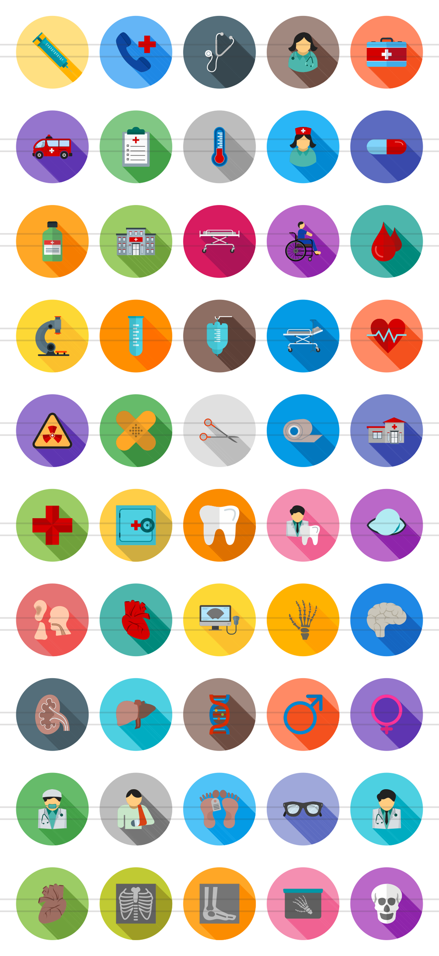 50 Medical Flat Long Shadow Icons example image 2