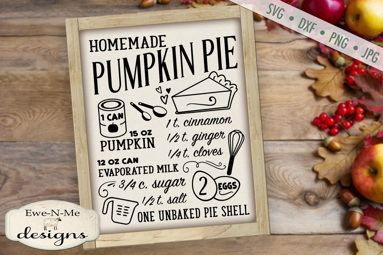 Pumpkin Pie Recipe - Fall - SVG DXF Files example image 2