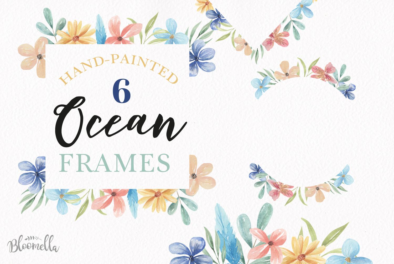 Watercolor Frames Borders Flowers Blue Pastel Set example image 1