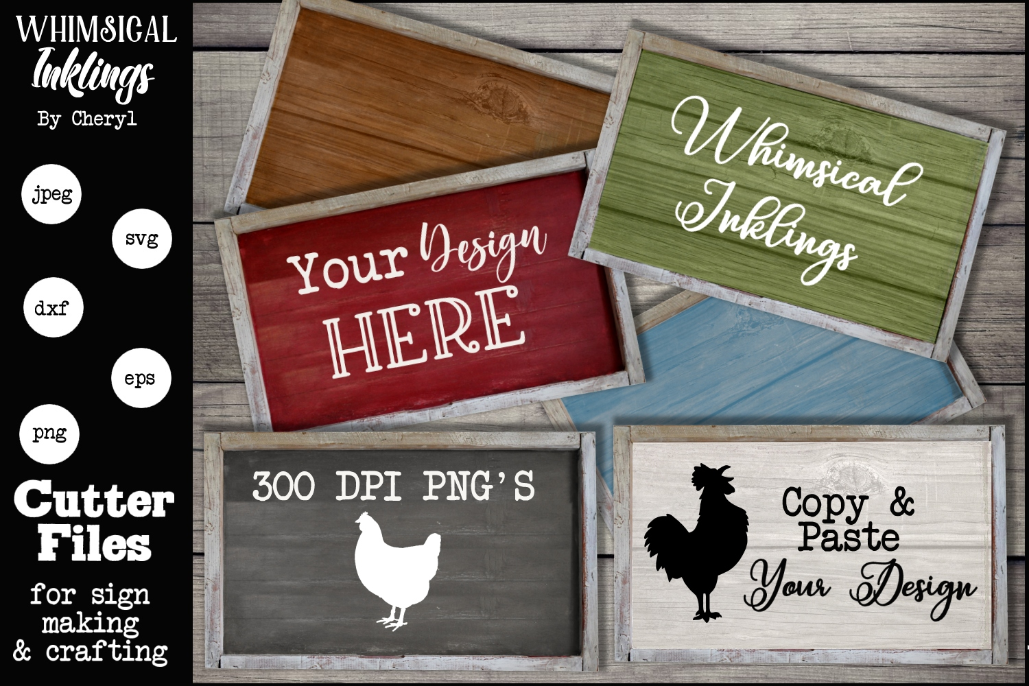 Rustic Sign Mock Ups- Set of 6 example image 1