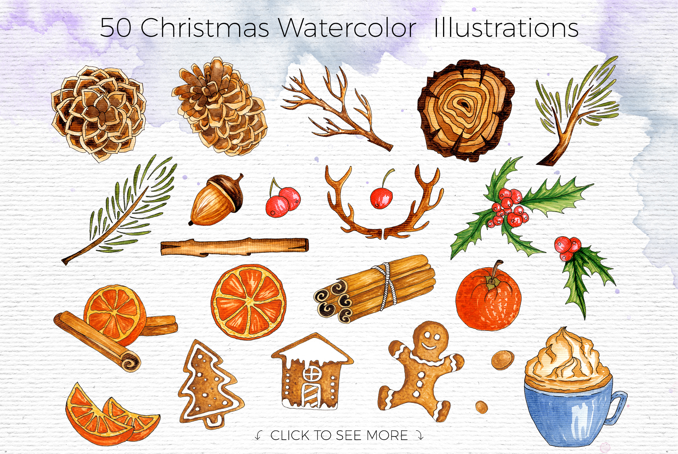 Watercolor Winter Illustrations example image 2