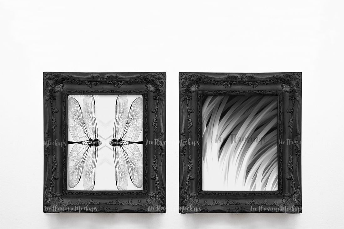 2 frame mockup two Vintage victorian style black frames 8x10 example image 2