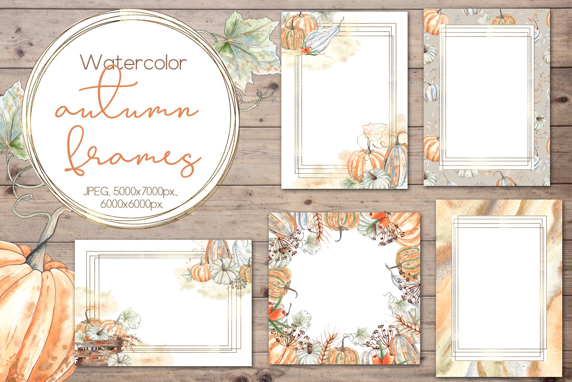 Watercolor autumn BUNDLE example image 15