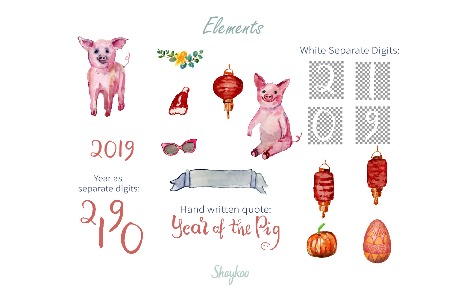 Year of the Pig Clipart, Chinese Year Watercolor Clipart example image 2