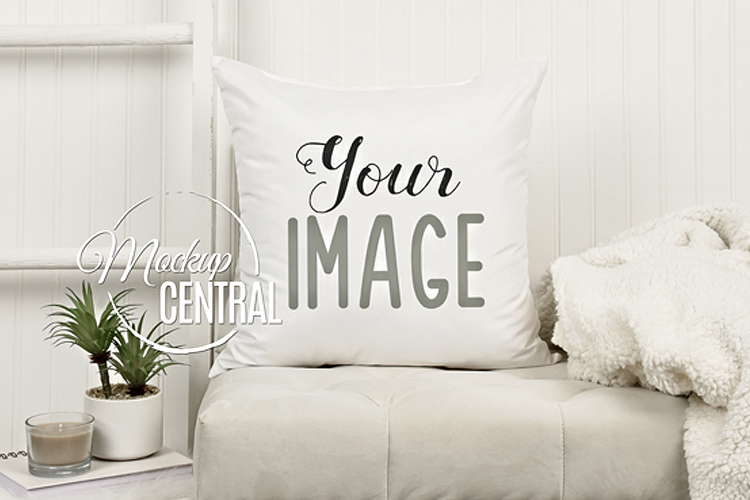 Blank White Square Living Room Chair Mockup Pillow JPG example image 1