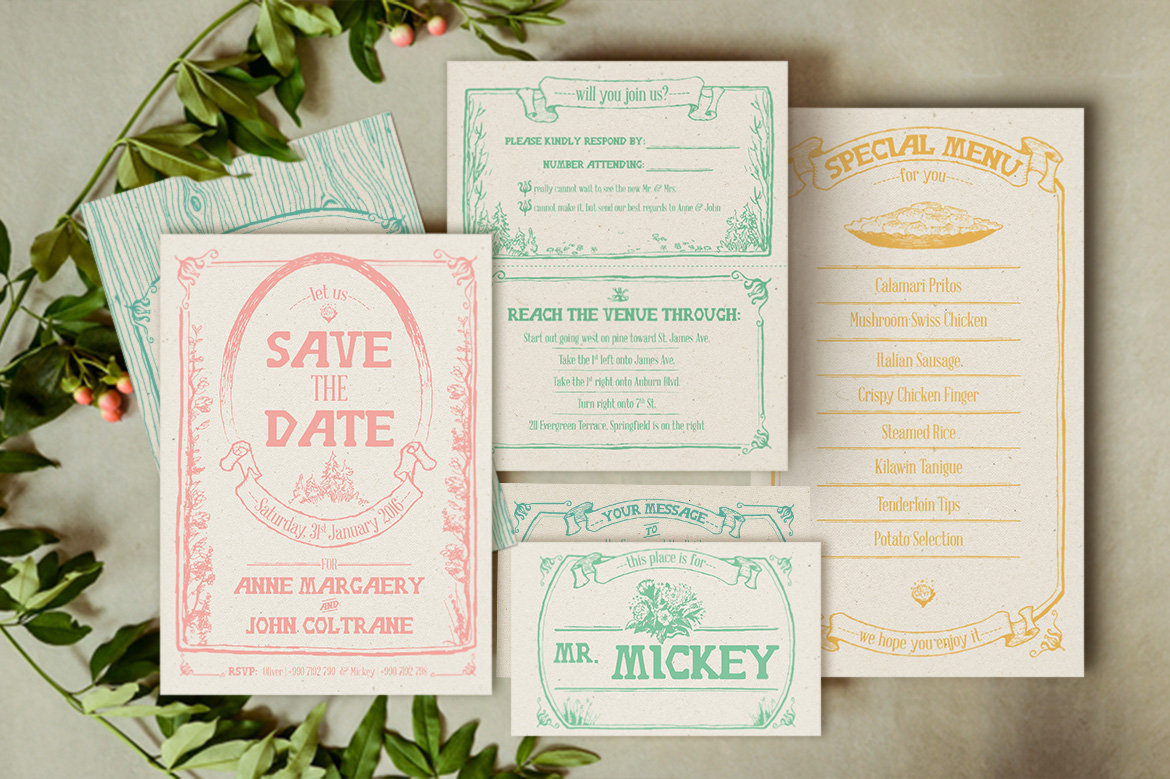 Whimsical Forest Wedding Invitation Suite example image 3