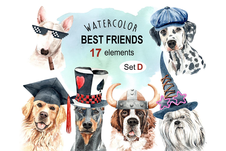 Dog watercolor clipart, Pet clip arts, Dog Set D example image 1