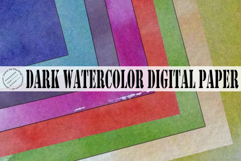 Dark Watercolor Digital Paper Textures example image 1