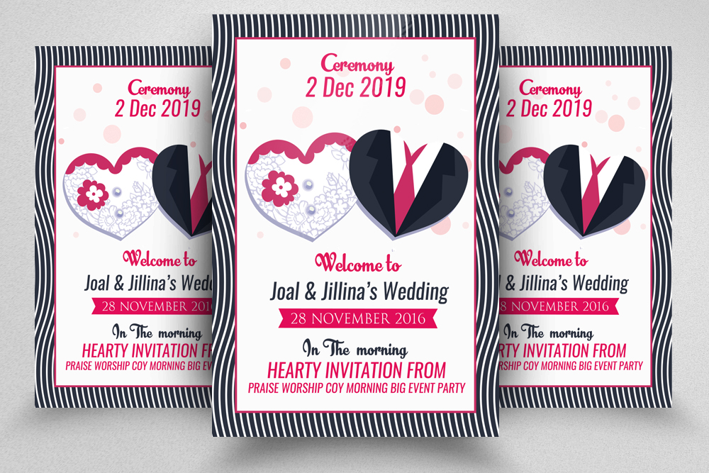Wedding Ceremony Invitation Flyer Template example image 1