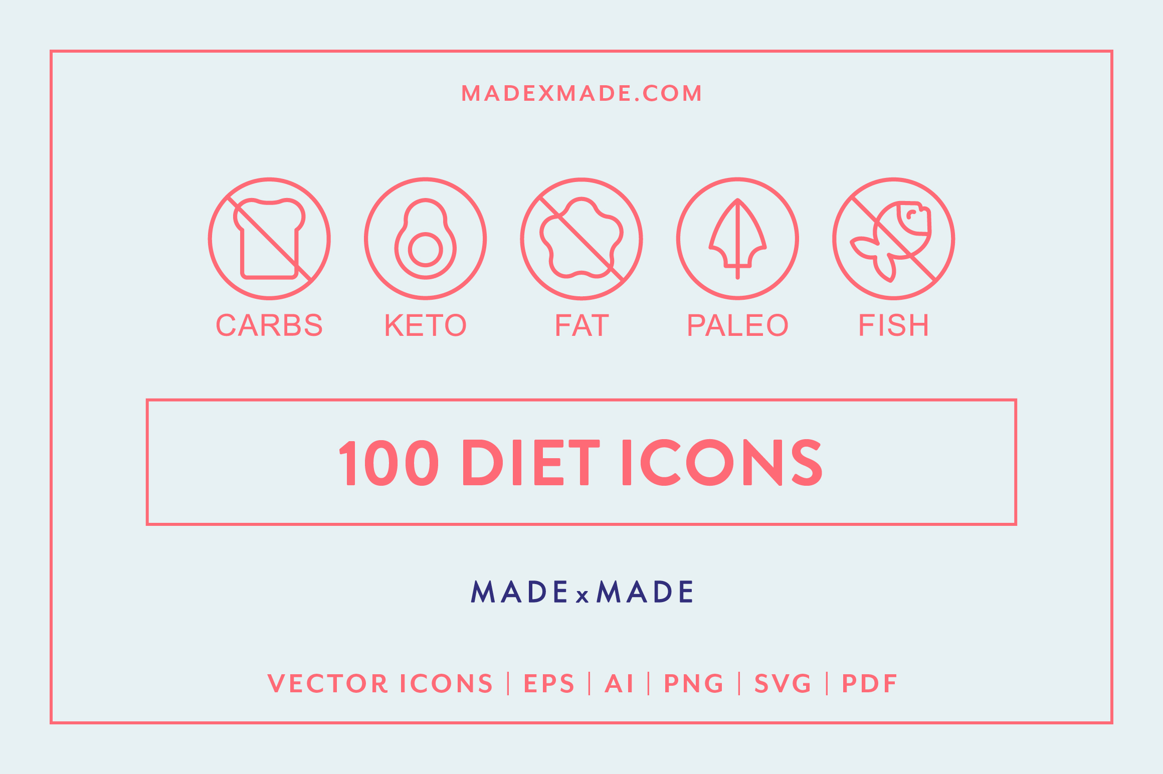 Line Icons - Diet example image 1