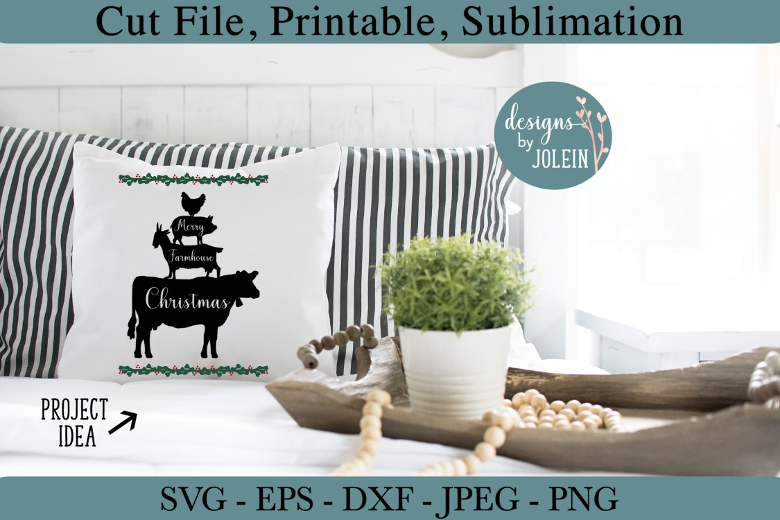 Merry Farmhouse Christmas SVG, png, eps, DXF, sublimation example image 3