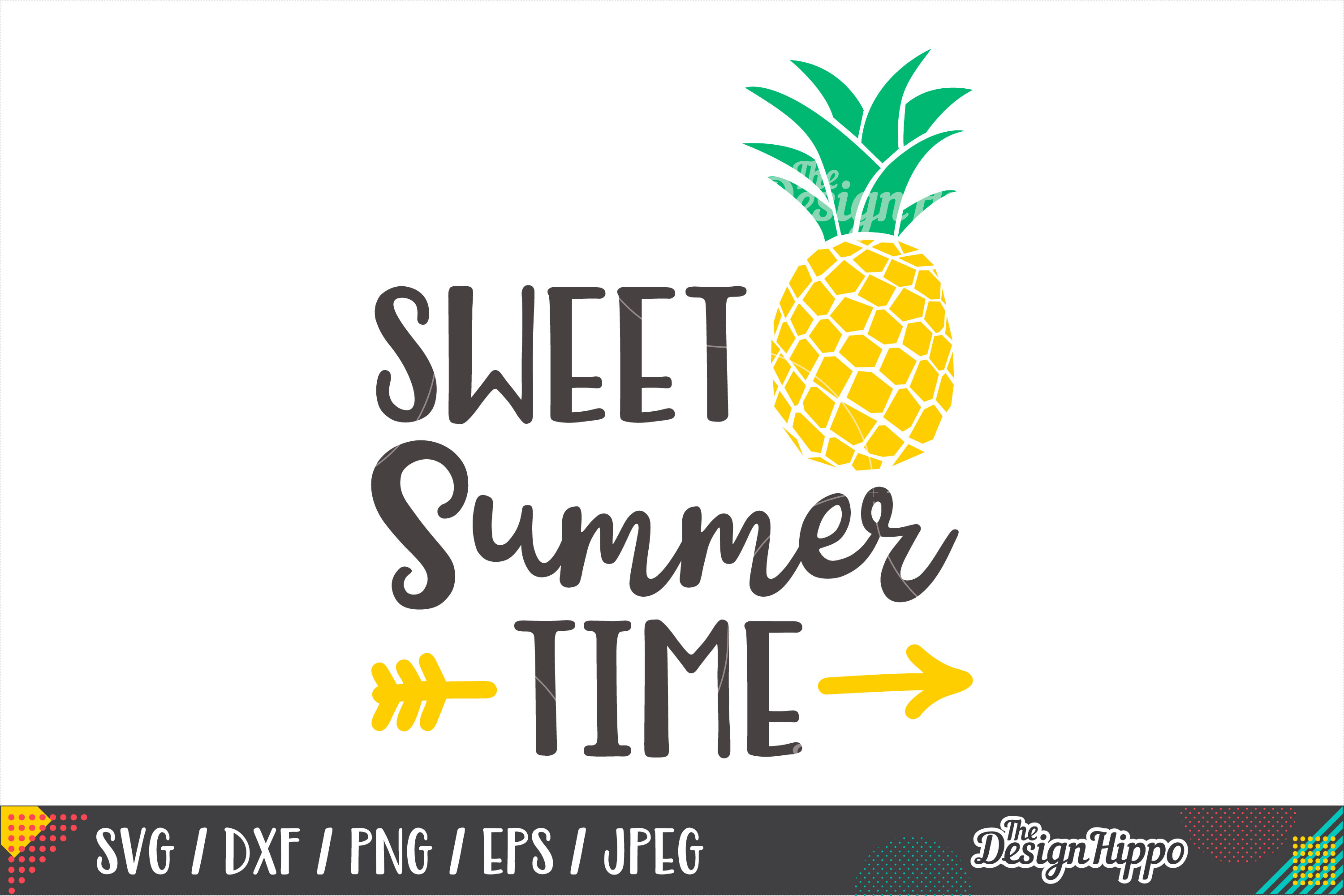 Sweet Summer Time SVG, Pineapple, Kids, SVG DXF PNG Cut File example image 1