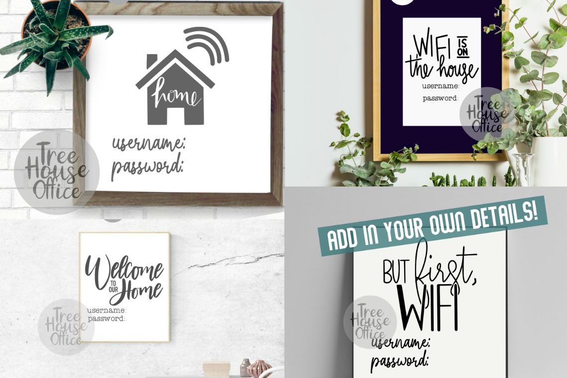 Wifi Sign Bundle Guest Wifi Password Funny WIFI SVG PNG JPG example image 3