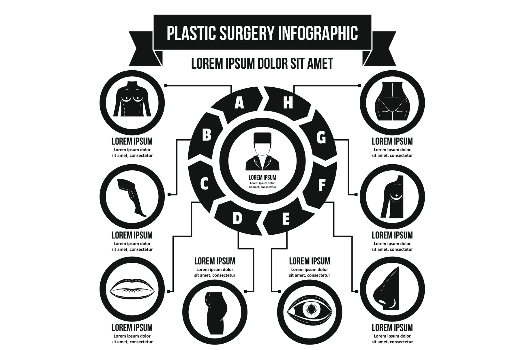 Plastic surgery infographic concept, simple style example image 1