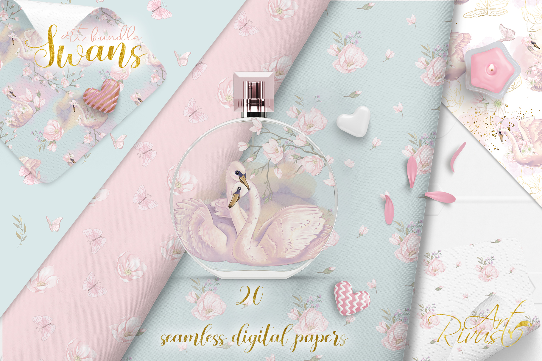 Swans clipart bundle. Wedding and baby shower graphic pack. example image 5