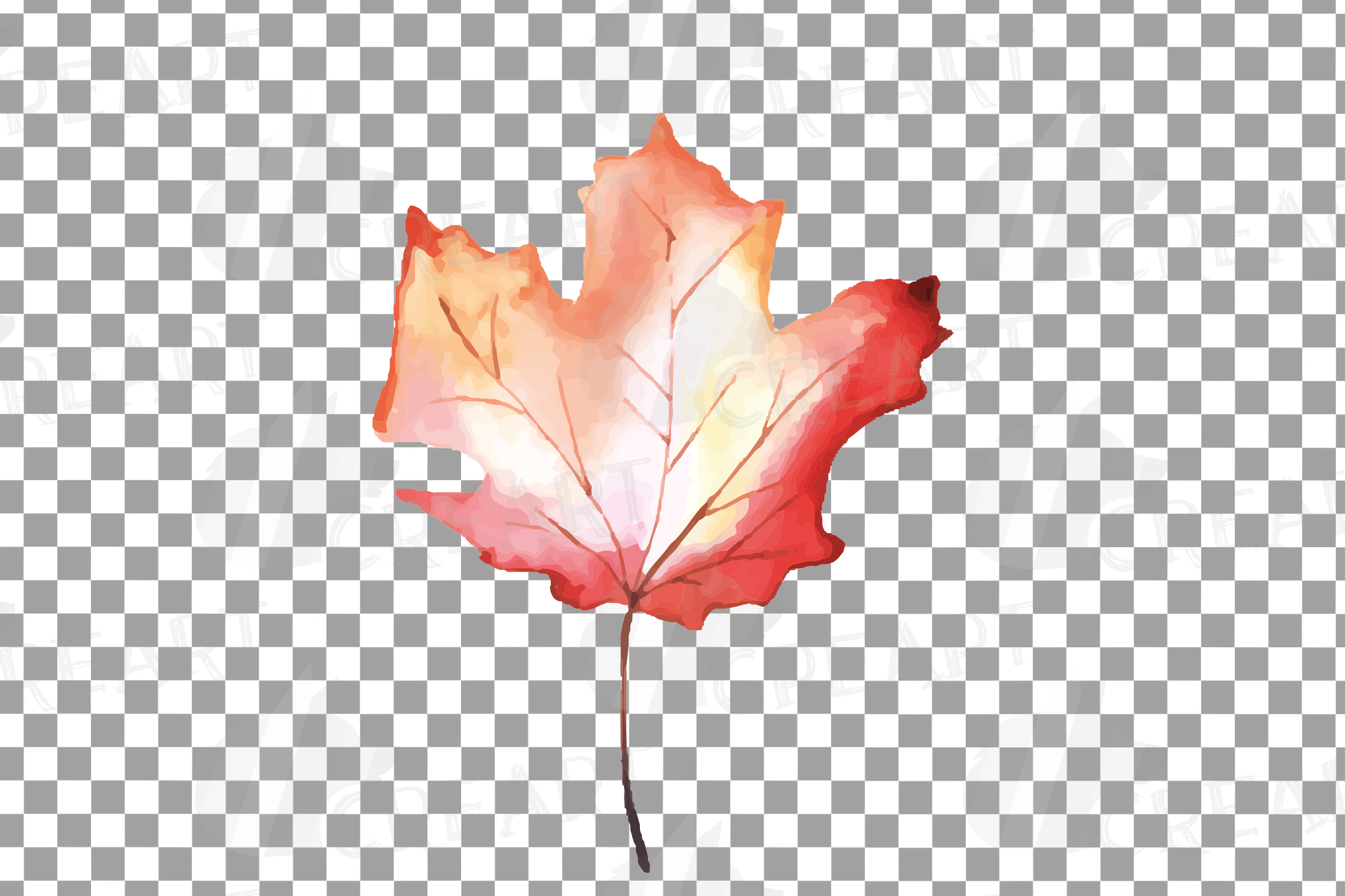 Printable autumn leaves watercolor decoration clip art pack. example image 10
