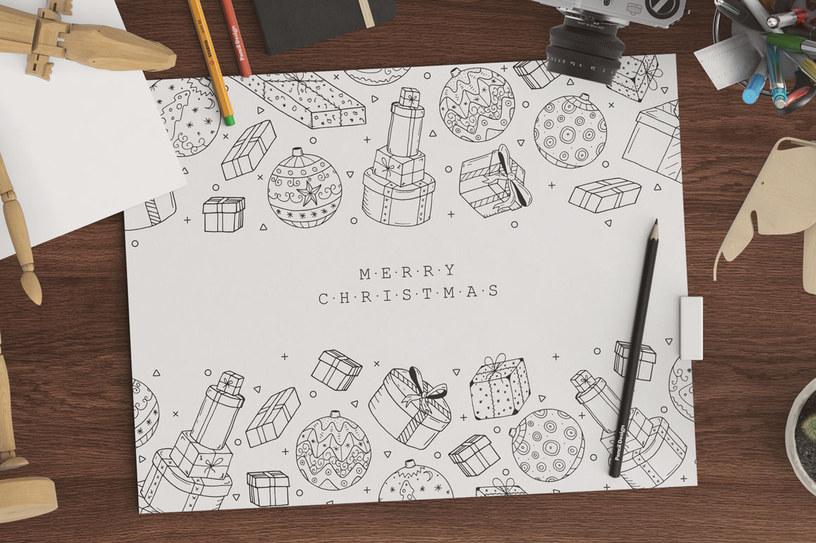 Bundle of Christmas hand drawn cards example image 2