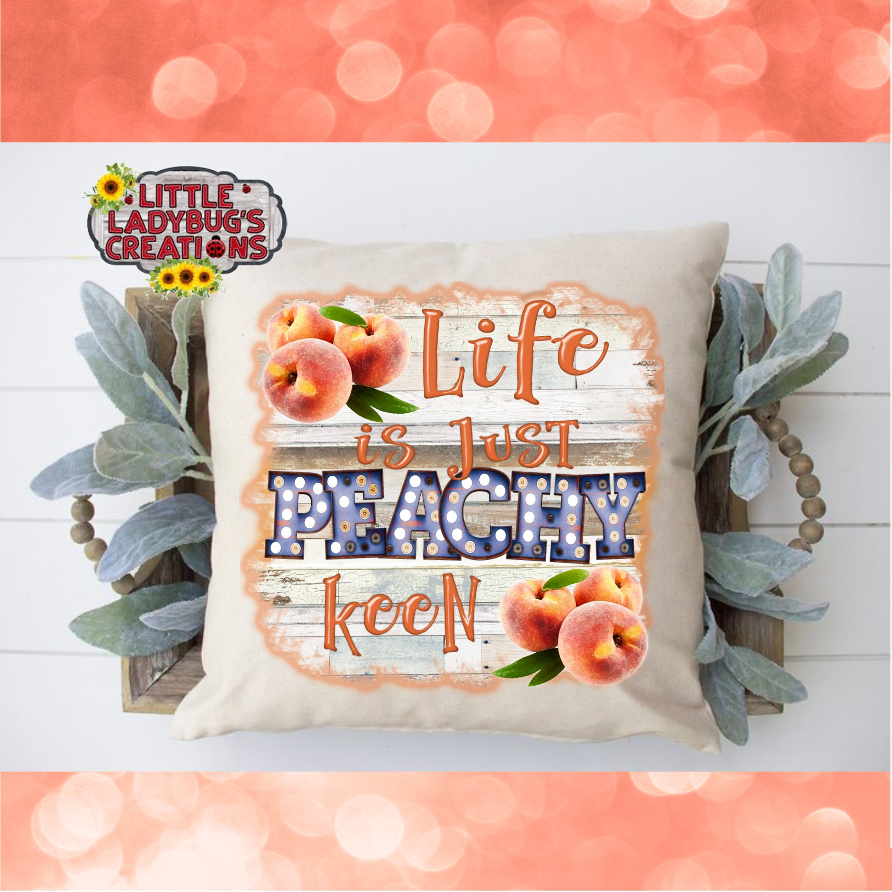 Life is Just Peachy Keen 300DPI PNG Printable Digital Design example image 4